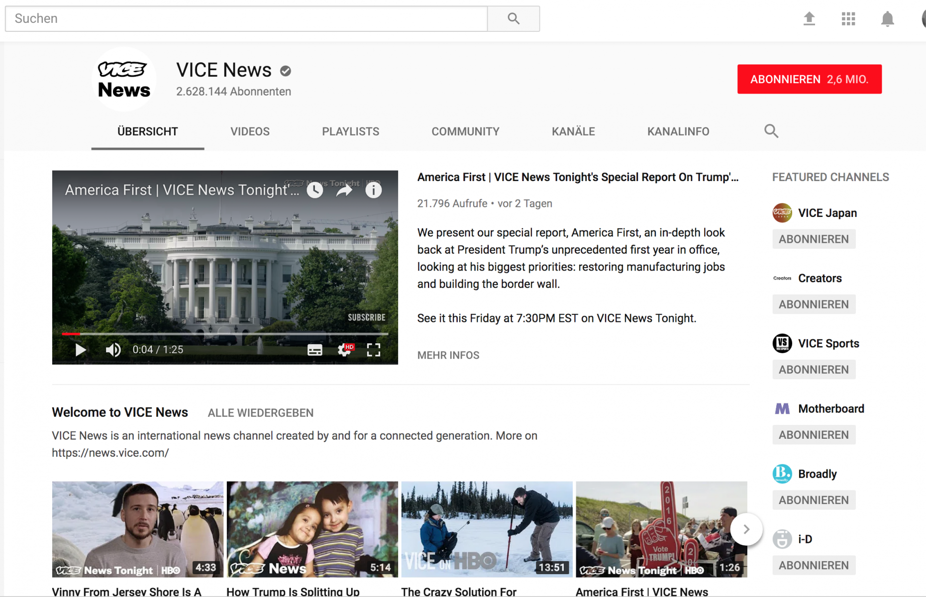 Vice News in YouTube